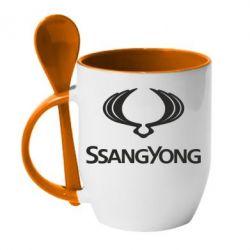 Кружка с керамической ложкой SsangYong Logo - FatLine