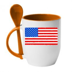 Кружка с керамической ложкой США - FatLine