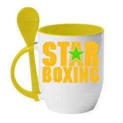 Кружка с керамической ложкой Star Boxing - FatLine