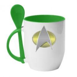 Кружка с керамической ложкой Star Trek Gold Logo - FatLine
