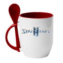 Кружка с керамической ложкой StarCraft 2 - FatLine