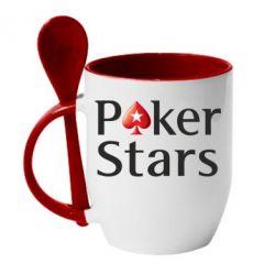 Кружка с керамической ложкой Stars of Poker - FatLine