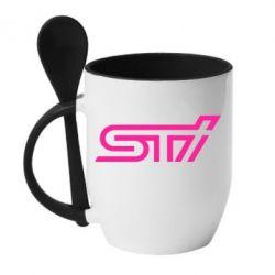 Кружка с керамической ложкой STI Logo - FatLine