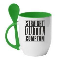 Кружка с керамической ложкой Straight outta compton - FatLine