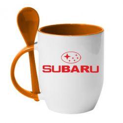 Кружка з керамічною ложкою Subaru - FatLine