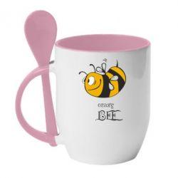 Кружка с керамической ложкой Сумасшедшая пчелка - FatLine