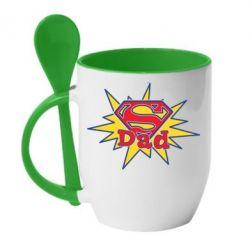 Кружка с керамической ложкой Super Dad - FatLine