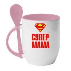 Кружка с керамической ложкой Супер Мама - FatLine