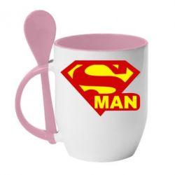 Кружка с керамической ложкой Super Man - FatLine