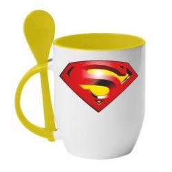 Кружка с керамической ложкой Superman Emblem - FatLine