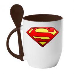 Кружка с керамической ложкой Superman Logo - FatLine