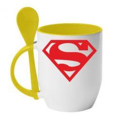 Кружка с керамической ложкой Superman одноцветный - FatLine