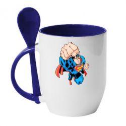 Кружка с керамической ложкой Супермен Комикс - FatLine