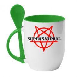 Кружка с керамической ложкой Supernatural - FatLine