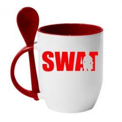 Кружка с керамической ложкой SWAT - FatLine