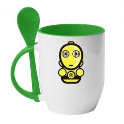 Кружка с керамической ложкой Sweet C-3PO - FatLine