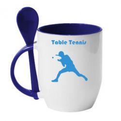 Кружка с керамической ложкой Table Tennis Logo - FatLine