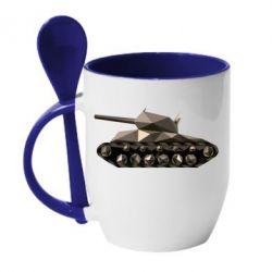 Кружка с керамической ложкой Танк - FatLine