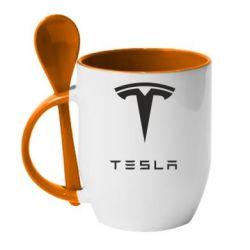 Кружка с керамической ложкой Tesla Logo - FatLine