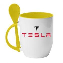Кружка с керамической ложкой Tesla - FatLine