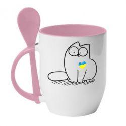 Кружка с керамической ложкой Типовий український кіт - FatLine