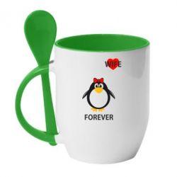 Кружка с керамической ложкой Together forever - FatLine