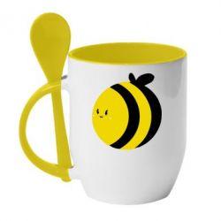 Кружка с керамической ложкой толстая пчелка - FatLine