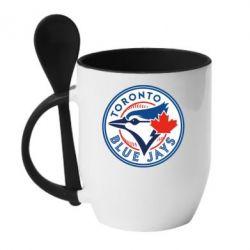 Кружка с керамической ложкой Toronto Blue Jays - FatLine