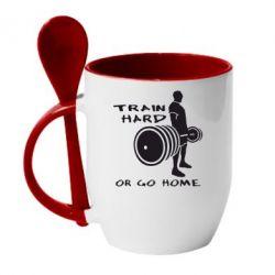 Кружка с керамической ложкой Train Hard or Go Home - FatLine