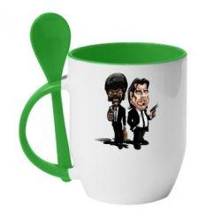 Кружка с керамической ложкой Travolta & L Jackson - FatLine