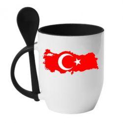 Кружка с керамической ложкой Turkey - FatLine