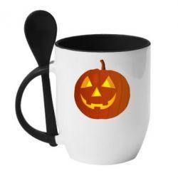 Кружка с керамической ложкой Тыква Halloween - FatLine