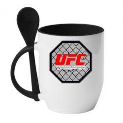 Кружка с керамической ложкой UFC Cage - FatLine