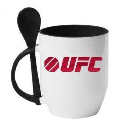 Кружка с керамической ложкой UFC Main Logo - FatLine