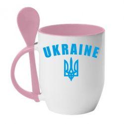 Кружка с керамической ложкой Ukraine + герб - FatLine