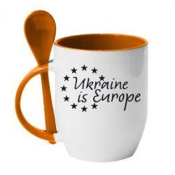 Кружка с керамической ложкой Ukraine in Europe - FatLine