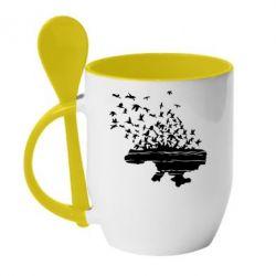 Кружка с керамической ложкой Українські птахи - FatLine