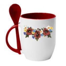 Кружка с керамической ложкой Украинские цветы - FatLine