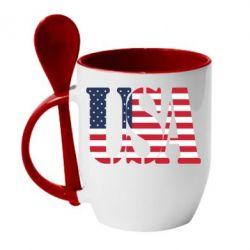 Кружка с керамической ложкой USA - FatLine