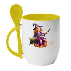 Кружка с керамической ложкой Ведьма верхом на метле - FatLine