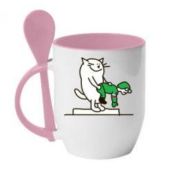 Кружка с керамической ложкой Вежливый кот - FatLine
