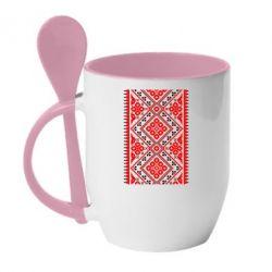 Кружка с керамической ложкой Вишиванка - FatLine