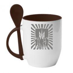 Кружка с керамической ложкой Військо українське - FatLine