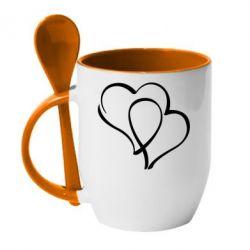 Кружка с керамической ложкой Влюбленные сердца - FatLine