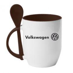Кружка с керамической ложкой Volkswagen Motors - FatLine
