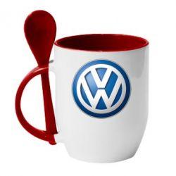 Кружка с керамической ложкой Volkswagen Small Logo - FatLine