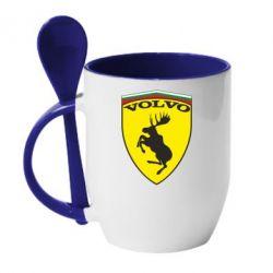 Кружка с керамической ложкой Volvo Logo - FatLine