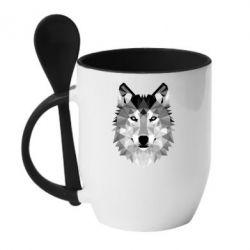 Кружка с керамической ложкой Wolf Art - FatLine