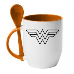 Кружка с керамической ложкой Wonder Woman Logo - FatLine