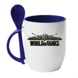 Кружка с керамической ложкой World Of Tanks 3D Logo - FatLine